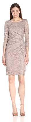 Marina Women's 3/4 Inch Sleeve Lace Dress with Side Pleating and V-Neck Back