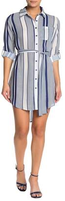 Papillon Stripe Waist Tie Shirt Dress