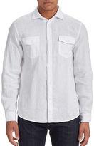 Black Brown 1826 Linen Button-Front Shirt