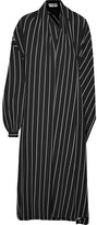 Balenciaga Wrap-effect Striped Stretch-jersey Midi Dress - Black