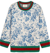 Gucci Printed Bonded Cotton-jersey Sweatshirt - Blue