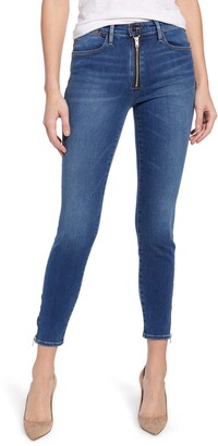 Frame Le High Waist Exposed Zip Skinny Jeans