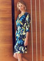 Kaleidoscope Floral Print Batwing Sleeve Dress