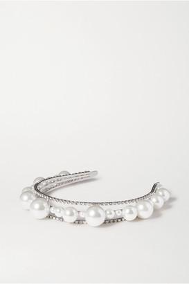 Givenchy Ariana Faux Pearl, Swarovski Crystal And Silver-tone Headband - White