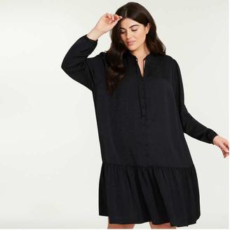 Joe Fresh Women+ Drop Waist Dress, Black (Size 2X)