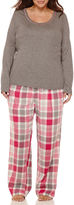 Liz Claiborne Long-Sleeve Knit Top and Flannel Pants Pajama Set - Plus
