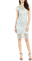 Tadashi Shoji Embroidered Metallic Lace Cap Sleeve Sheath Dress