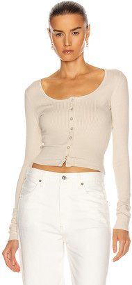 The Range Cropped Button Down Top in Limestone | FWRD