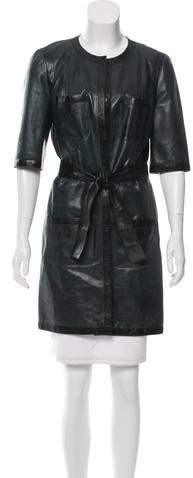 Chanel Leather Belted Coat