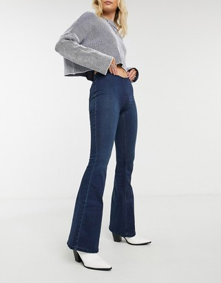 Free People Penny pull on flared jeans in blue