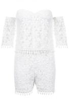 Quiz White Crochet Bardot Playsuit