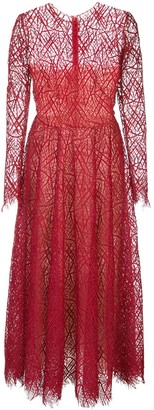 Oscar de la Renta abstract-lace A-line dress