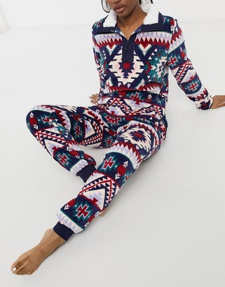 Chelsea Peers all over printed fleece borg lined jumper and jogger set in multicolour