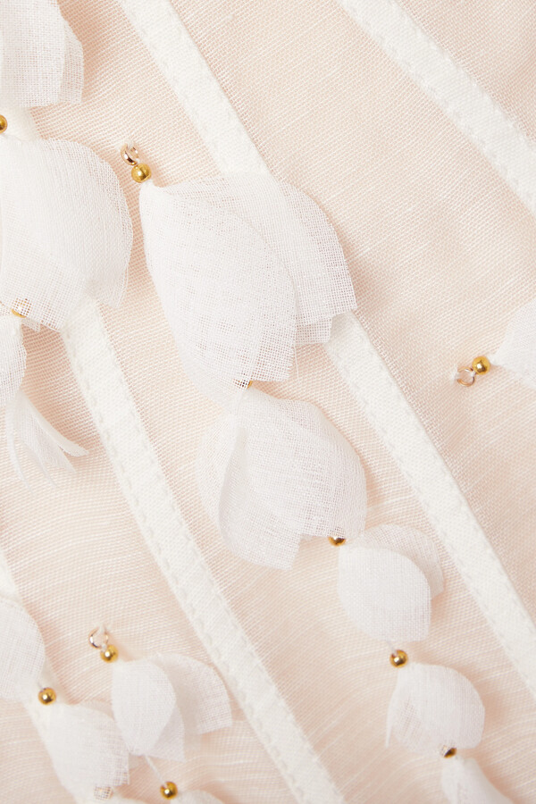 Thumbnail for your product : Zimmermann Wild Botanica Open-back Embellished Linen And Silk-blend Gown - White