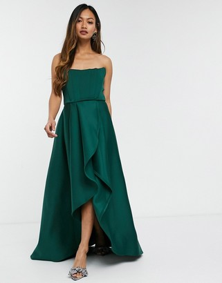 True Violet exclusive prom midi high low with corset detail in forest green