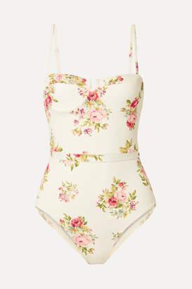 Zimmermann Honour Floral-print Underwired Swimsuit - Cream