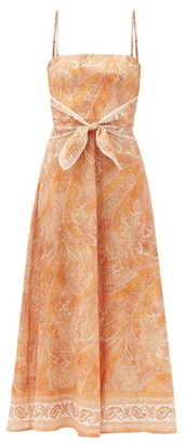 Zimmermann Brighton Tie-waist Paisley-print Linen Midi Dress - Orange Print
