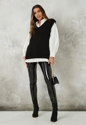 Missguided Black V Neck Sleeveless Knitted Tunic