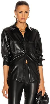JONATHAN SIMKHAI STANDARD Pleated Sleeve Shirt in Black   FWRD