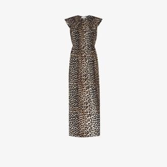 Ganni Leopard Print Peter Pan Collar Dress