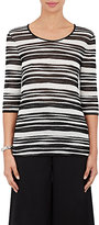 Giorgio Armani Women's Striped Fine Ottoman-Knit Top-BLACK, WHITE, NO COLOR