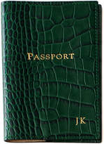 Graphic Image Crocodile-Embossed Leather Passport Cover, Personalized