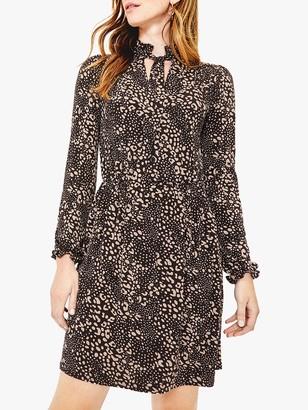 Oasis Mollie Animal Print Dress, Black/Multi