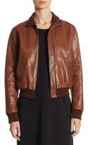 Halston Leather Bomber Jacket