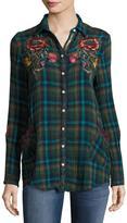 Johnny Was Bonnie Jasmine Plaid Embroidered Shirt, Multicolor, Petite
