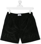 Stone Island Junior TEEN embroidered logo track shorts