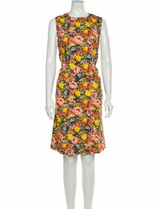 Marni Floral Print Knee-Length Dress Yellow