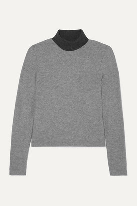 Leset Lori Two-tone Brushed Stretch-knit Turtleneck Sweater - Gray