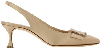 Manolo Blahnik Dolores Sling Back In Satin With Cristal Buckle