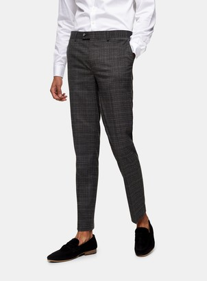 Topman HARRY BROWN Charcoal Grey Slim Fit Suit Trousers