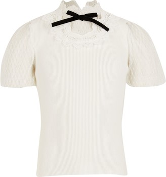 River Island Girls Ivory victoriana knitted top