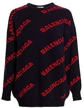 Balenciaga Women's Intarsia Knit Logo Sweater
