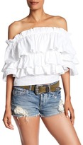 Romeo & Juliet Couture Off Shoulder Ruffle Shirt