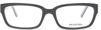 Balenciaga Bb-logo Rectangular Acetate Glasses - Black