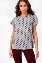 Iclothing iClothing Penny Short Sleeve Blouse in Grey Floral