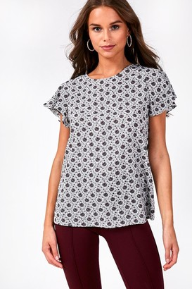 iClothing Penny Short Sleeve Blouse in Grey Floral