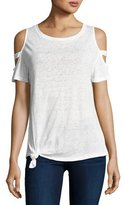 Generation Love Kendall Cold-Shoulder Tie-Hem Tee, White