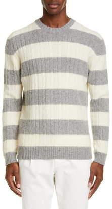 Eleventy Stripe Cable Knit Wool & Cashmere Crewneck Sweater