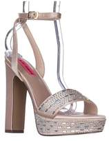 Betsey Johnson Alliie Ankle Strap Platform Dress Sandals, Champagne.