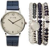 jessica carlyle ST1787S350 Silver-Tone & Blue Watch & Bracelet Set