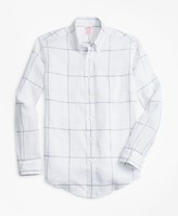 Brooks Brothers Madison Fit Large-Windowpane Irish Linen Sport Shirt