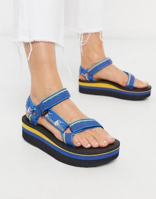 Teva flatform universal chunky sandals in unicorn blue