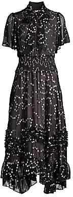 Rebecca Taylor Women's Nuage Metallic Polka Dot Handkerchief Dress