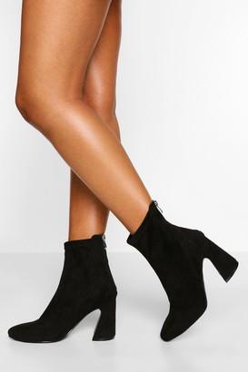 boohoo Wide Fit Flare Heel Sock Boot