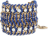 Betsey Johnson Gold-Tone Crystal Blue Cord Mesh Bracelet