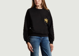 Le Mont St Michel Black Cotton and Polyester Embroidered Logo Sweatshirt - extra small | black | cotton and polyester - Black/Black